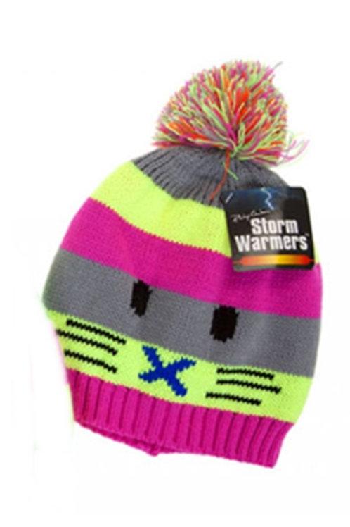 Unisex Adults Kids Neon Striped Cat Face Bobble Hat