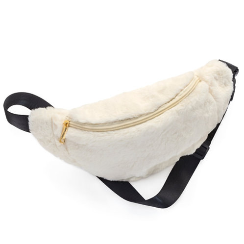 Off White Faux Fur Fluffy Bum Bag Fanny Pack