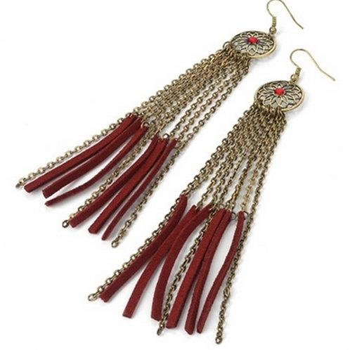 Red Gold Dangle Chain Tassel Earrings