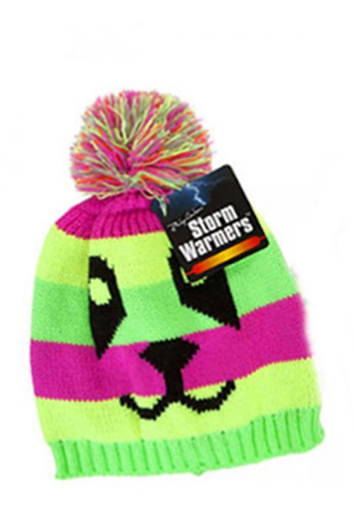 Neon Striped Dog Face Bobble Hat