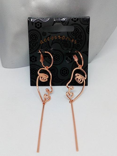 Rose Gold Colour Face Dangly Earrings