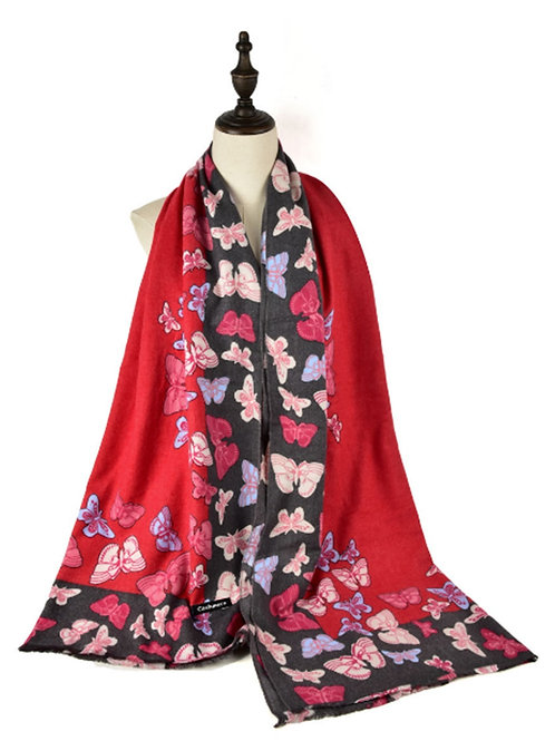 Red Butterfly Cashmere Feel Scarf