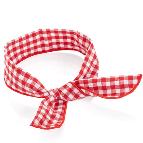 Red and white gingham print wire headwrap