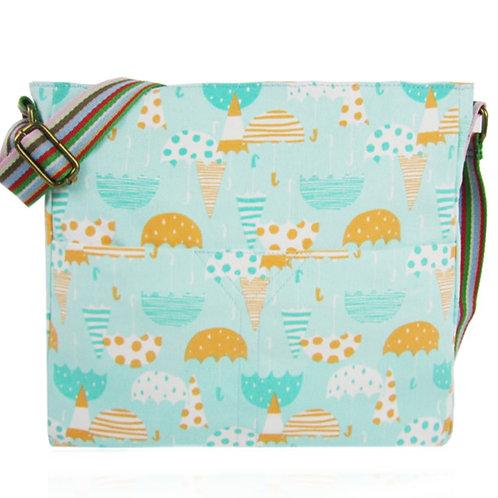 Blue Green Canvas Messenger Bag Umbrellas