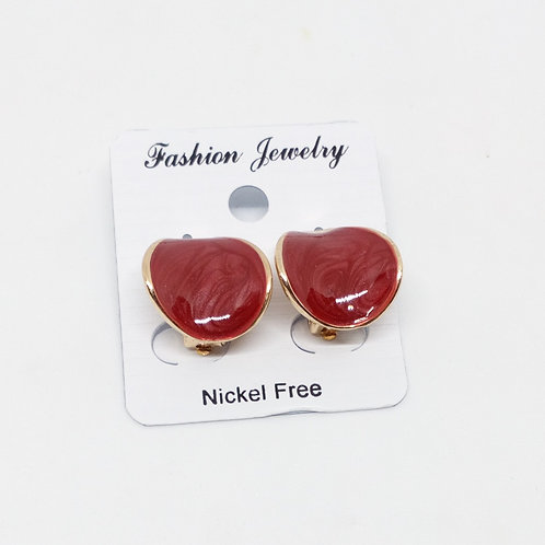 Small Red Marble Effect Clip on Earrings