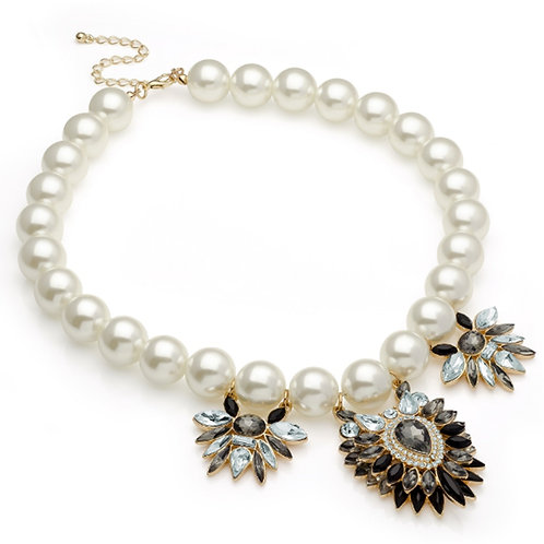 Chunky White Pearl Statement Necklace
