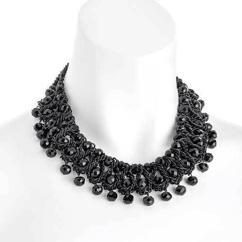 Womens Black Bead Droplet Statement Collar Necklace
