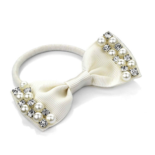 Small Cream Hair Bow with Pearls