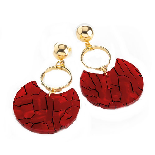 Gold colour red marble effect drop earring