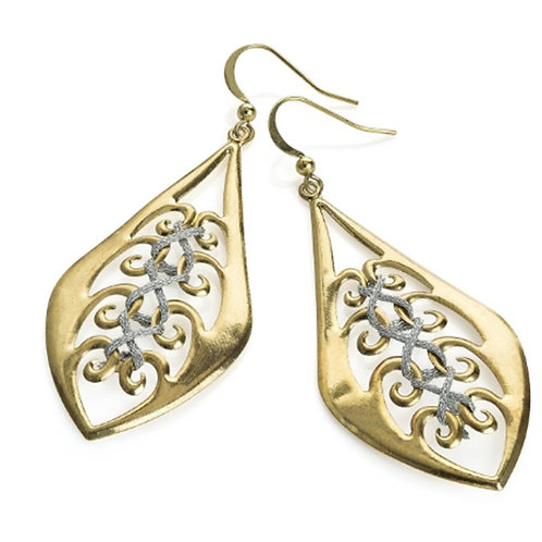 Gold Cut Out Earrings with Silver Thread