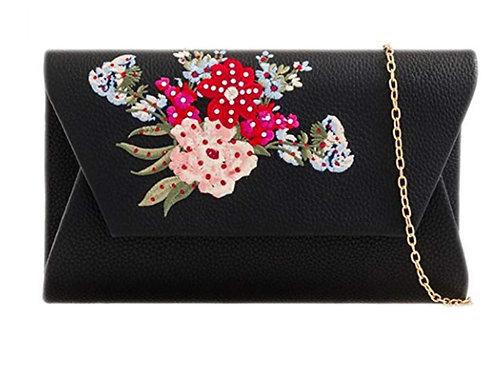 Black Faux Leather Flower Clutch Bag