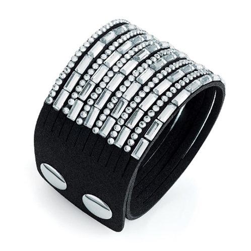 Womens Black Rhinestone Crystal Bead Stud Bracelet