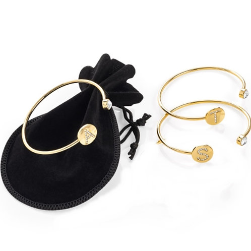 Gold Look Open Inital Bangle bracelet