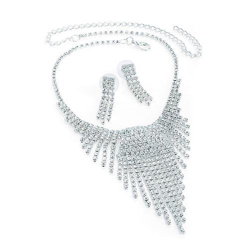 Womens Glitzy Sparkly Silver diamante crystal spray earring necklace set