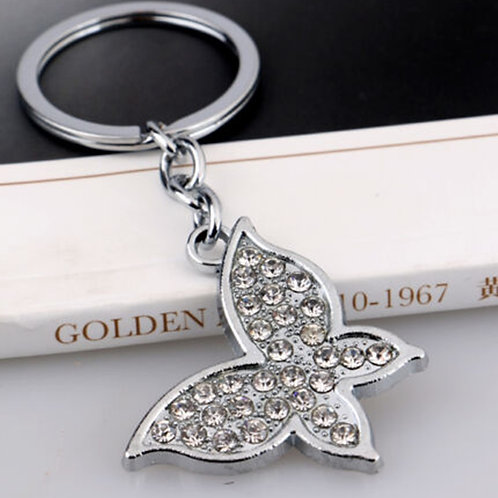 Silver Metal Crystal Butterfly Key Ring