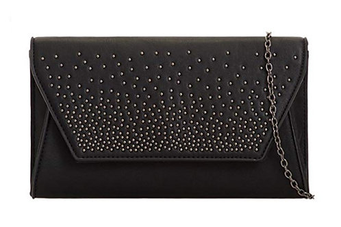 Womens Black Studded Faux leather Clutch Bag