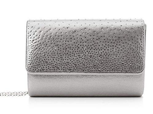 Womens Silver Metallic Clutch Bag Rhinestones