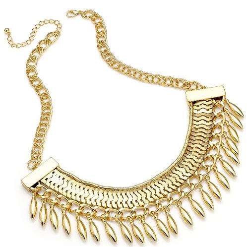 Womens Gold Tassel Boho Statement Necklace