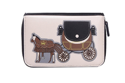 Purse Organiser for small phone with Horse and Carriage