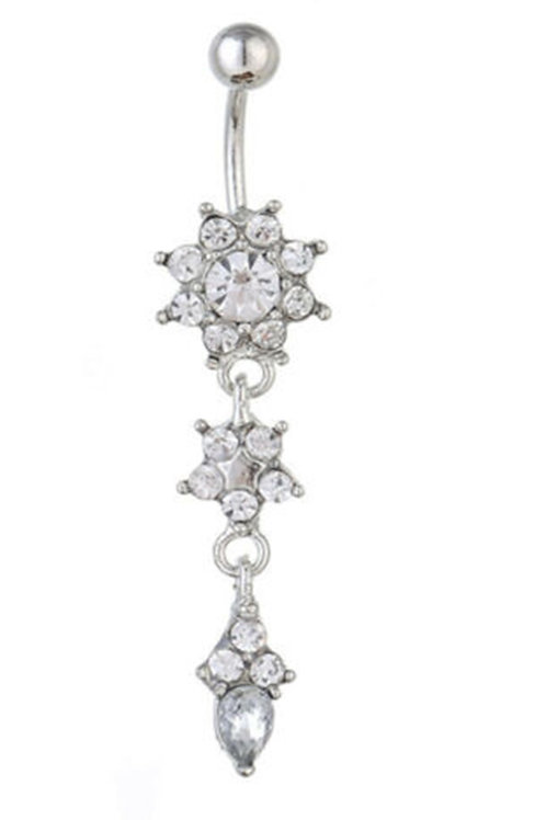 Silver Stainless Steel Crystal Navel bar