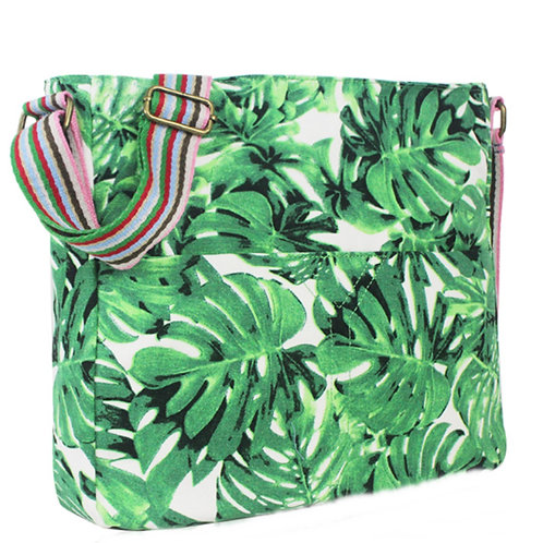 Large Green Leaf print Messenger Bag