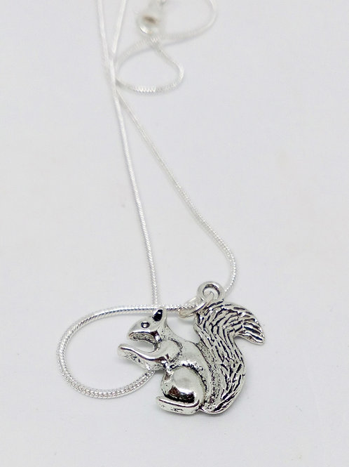Silver Colour Squirrel Pendant Necklace Hand Made