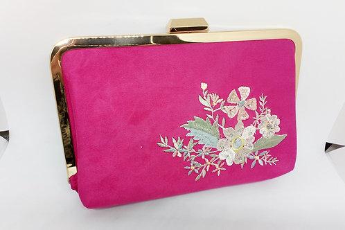 Fuchsia Pink Velvet Embroidered Flower Vintage Look Clutch Handbag