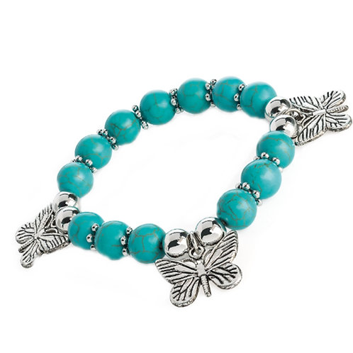 Turquoise Bead Stretchy Butterfly Charm bracelet