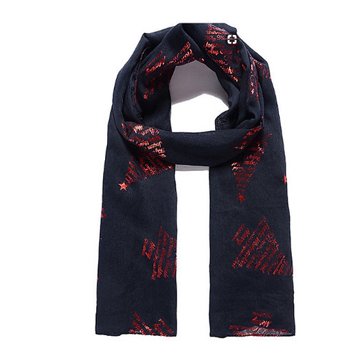 Navy Blue Christmas Verse and Tree Scarf