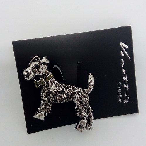 Silver Schnauzer Dog Brooch Pin