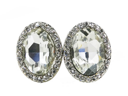 Womens Silver Oval Clear Clip on Earrings