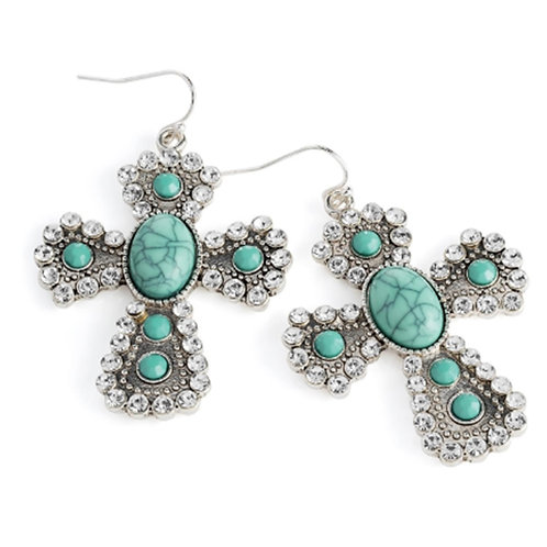 Womens Silver Turquoise Colour Bead Crystal Cross Earrings