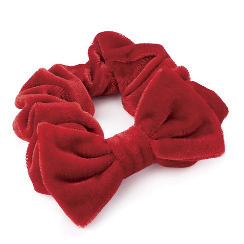 Kiddies Red Velvet Hair Scrunchie with Bow
