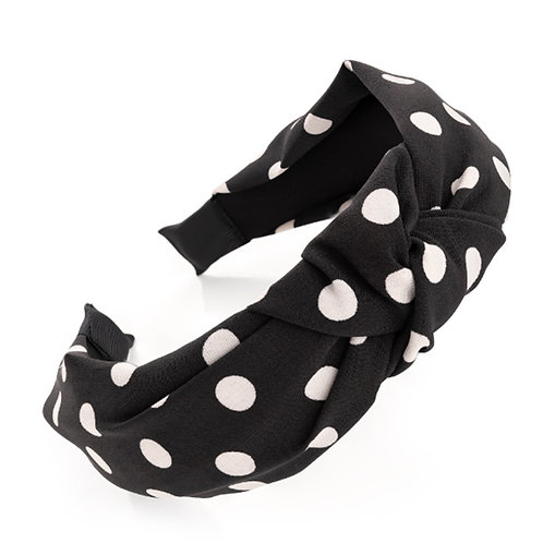 Ladies Black White Spotty Polka Dot Hair Band