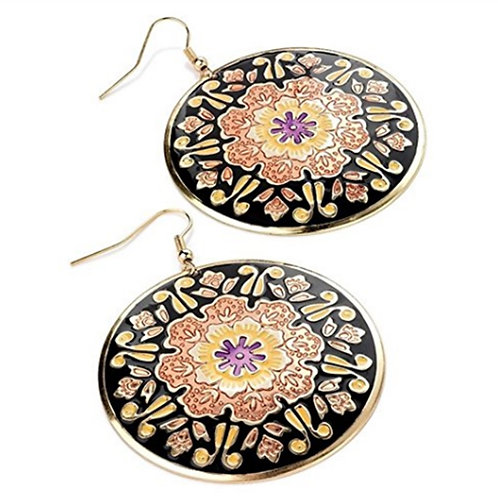 Peach Black Disc Earrings with Flower detail