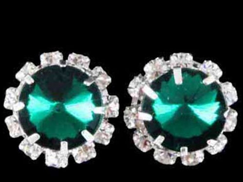 Womens Emerald Green Crystal Stud Earrings