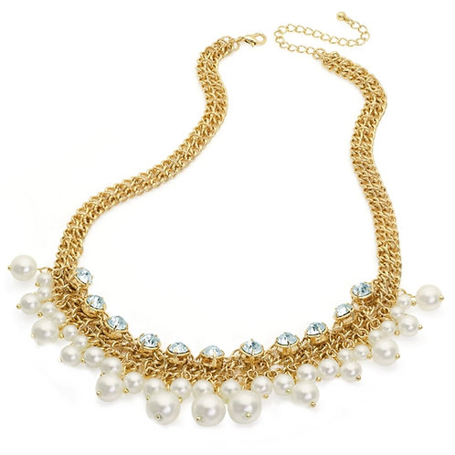 Ivory White Pearl Crystal Gold Bead Droplet Statement Necklace
