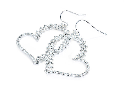 Womens Sparkly Silver crystal heart cut out earrings