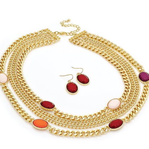 Womens Gold Four Row Bead Necklace Earring Set
