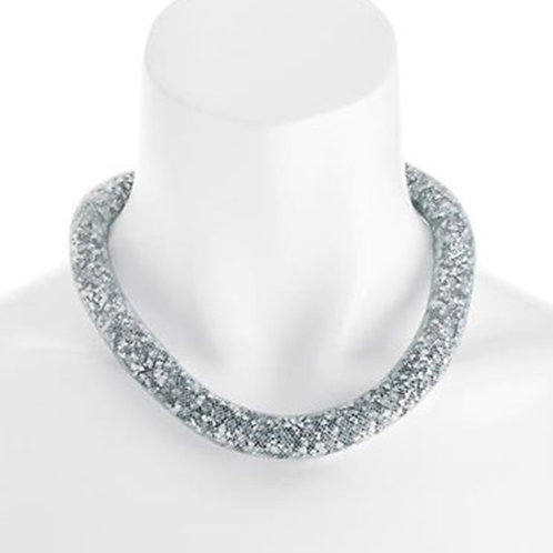 Silver Sparkly Mesh Net Choker Necklace
