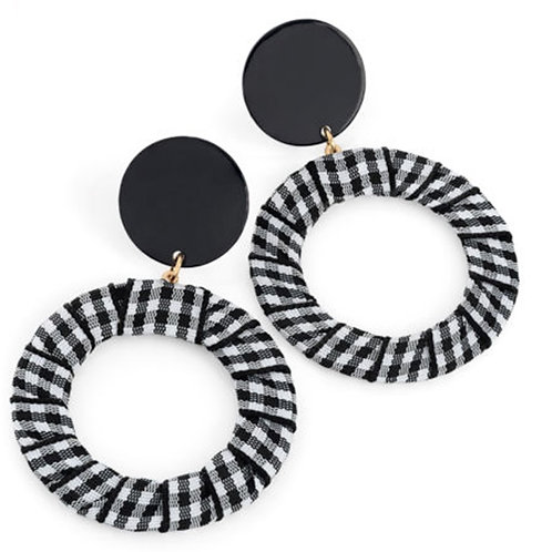 Black White Gingham Checked Hoop Drop Earrings