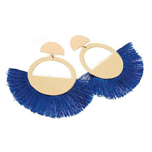 Gold Tone Royal Blue Tassel Art Deco Style Earrings