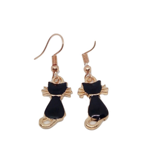 Small Hand Made Black Cat Earrings