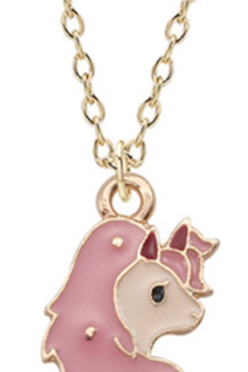 Small Kids Unicorn Necklace Pendant - Light Pink