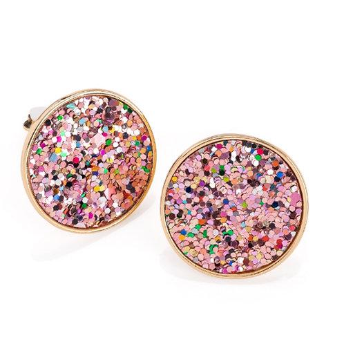 Womens Pink Multi Glitter Round Clip on Earrings