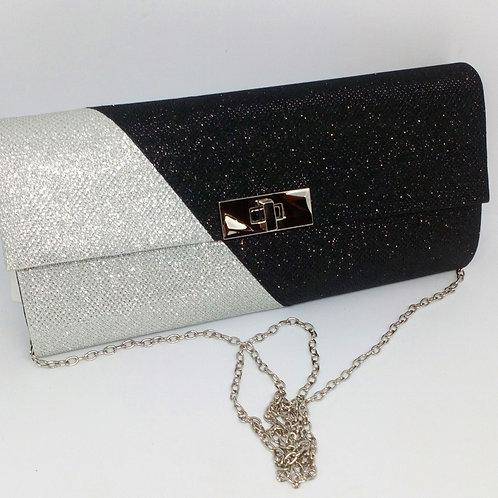 Womens Silver Black Colour Block Glittery Clutch Bag