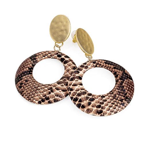 Brown Snake Skin Pattern Hoop Drop Earrings