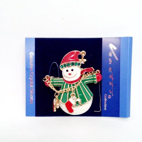 Snowman Christmas Brooch