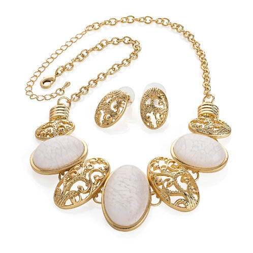 Gold and White Marble Necklace Set