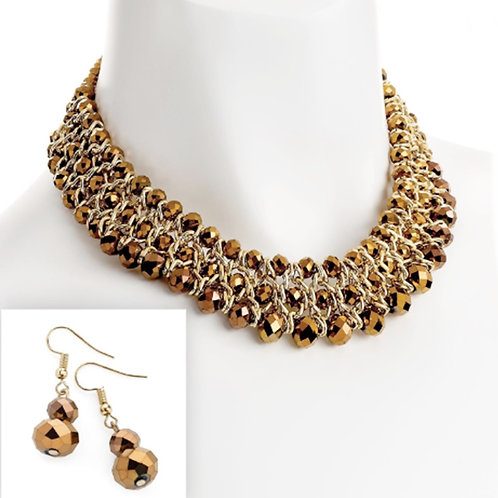 Ladies Layered Bronze Brown Mirror Bead Necklace Earring Set